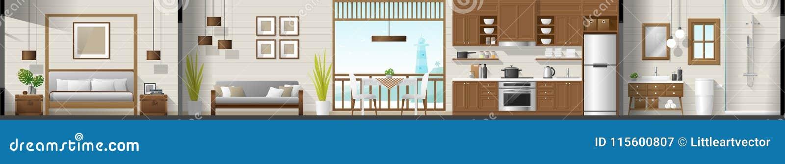 安置内部部分全景包括卧室、客厅、餐厅、厨房和卫生间