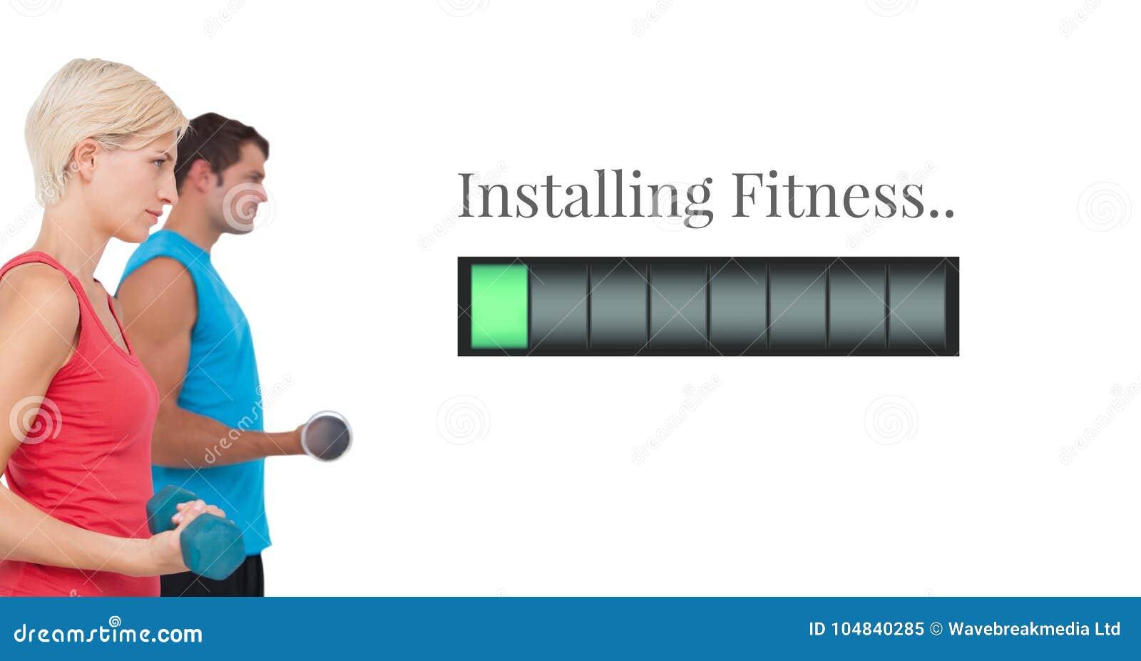 安装健身供给酒吧和健身夫妇举的重量动力
