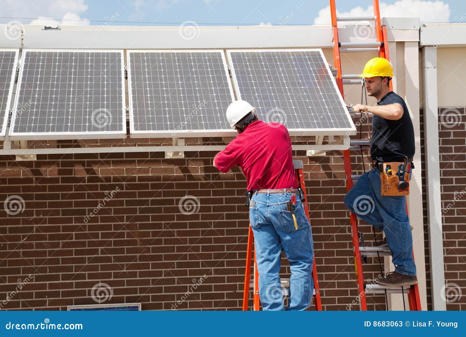 安装太阳的面板