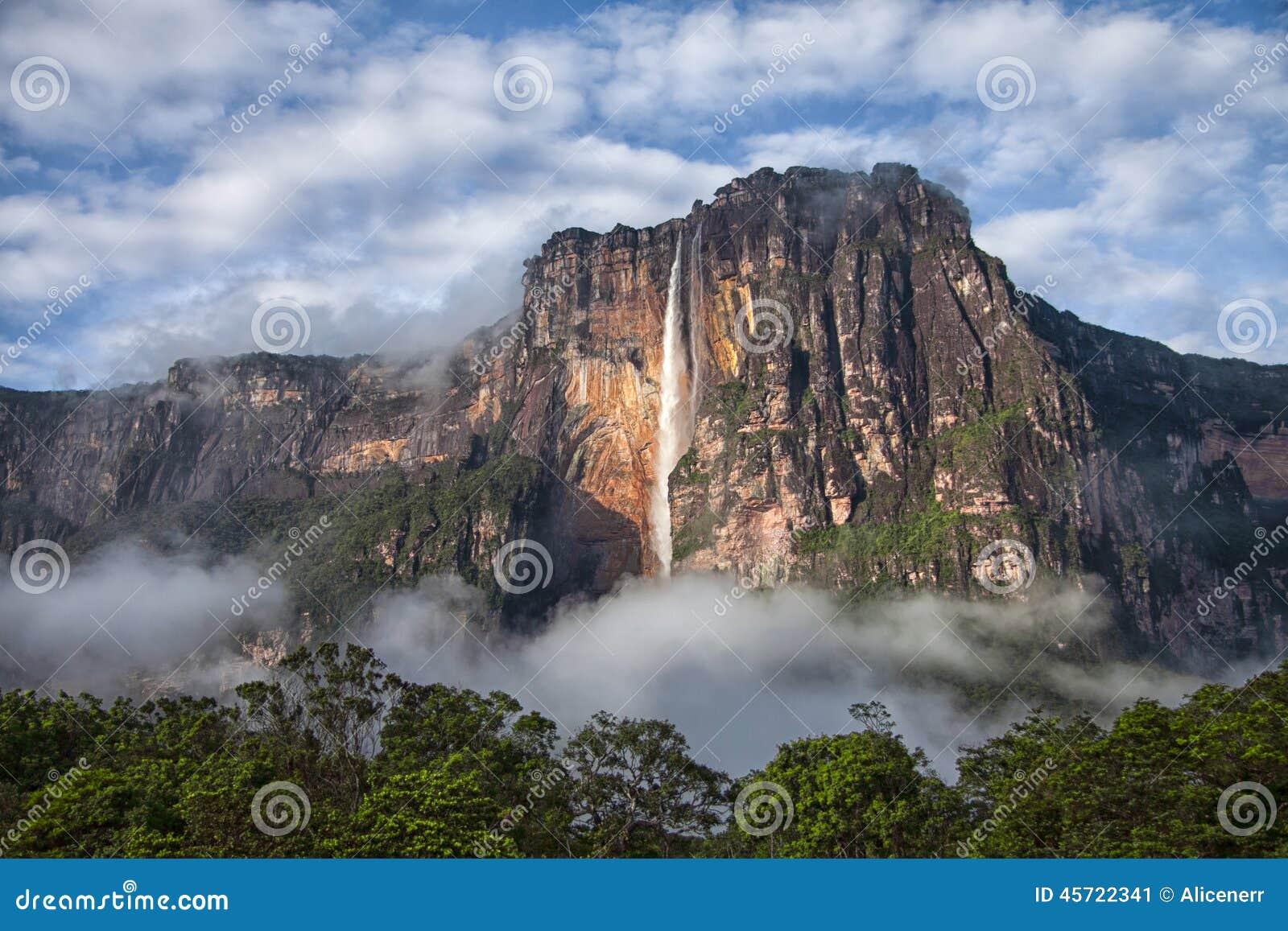 安赫尔瀑布特写镜头-地球上的最高的瀑布