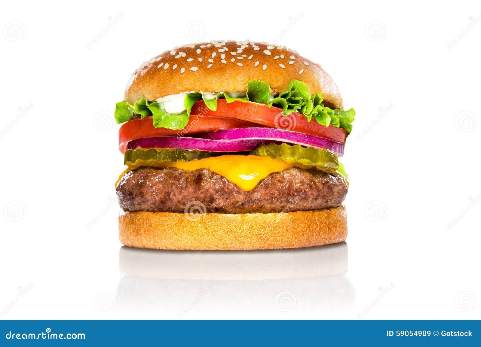 完善的在白色反射隔绝的汉堡包经典汉堡美国乳酪汉堡