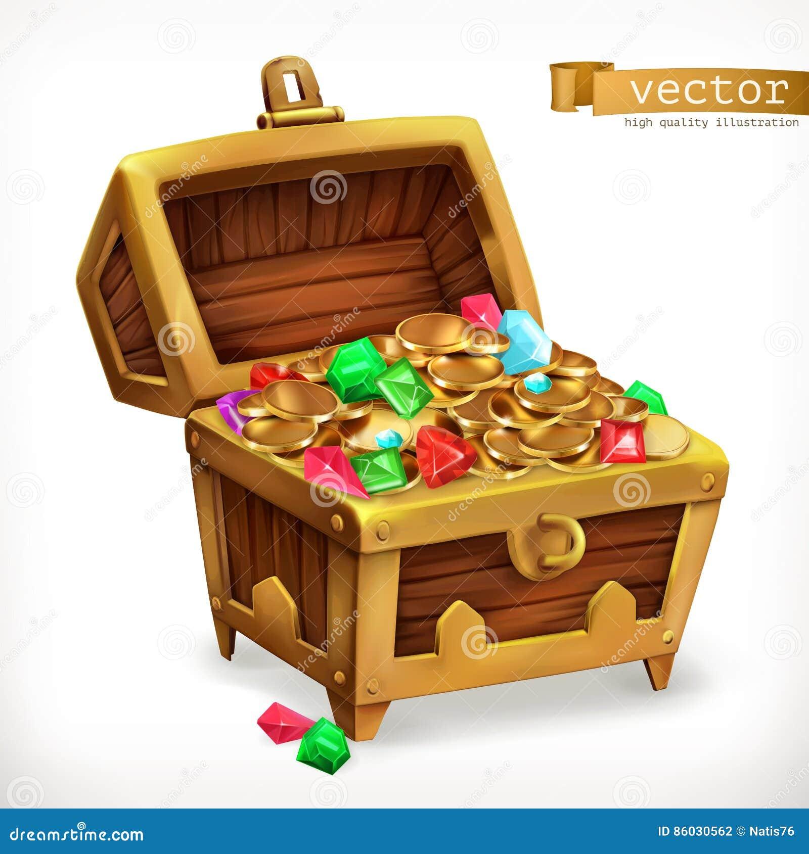 宝物箱宝石和金币 适应图标