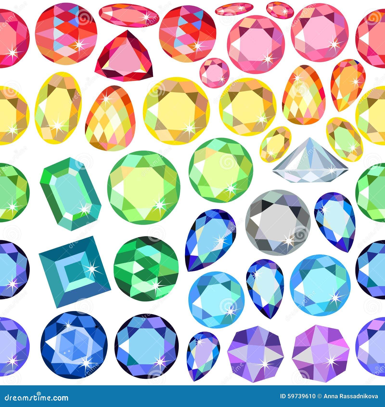 无缝的疏散宝石,在白色背景隔绝的假钻石,传染媒介例证.