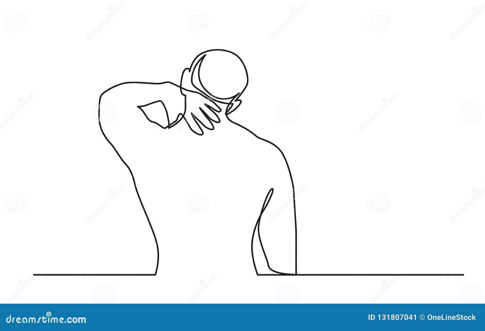 实线人痛苦图画从脖子痛的