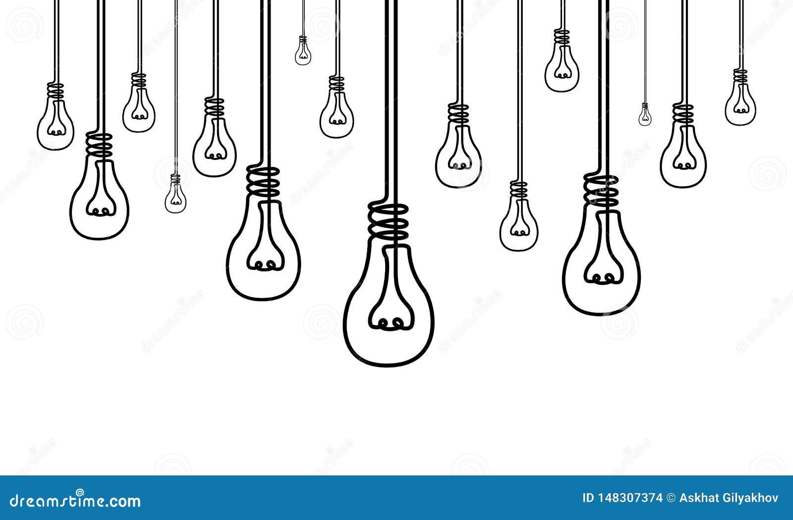 实线很多电灯泡,许多想法,创造性概念