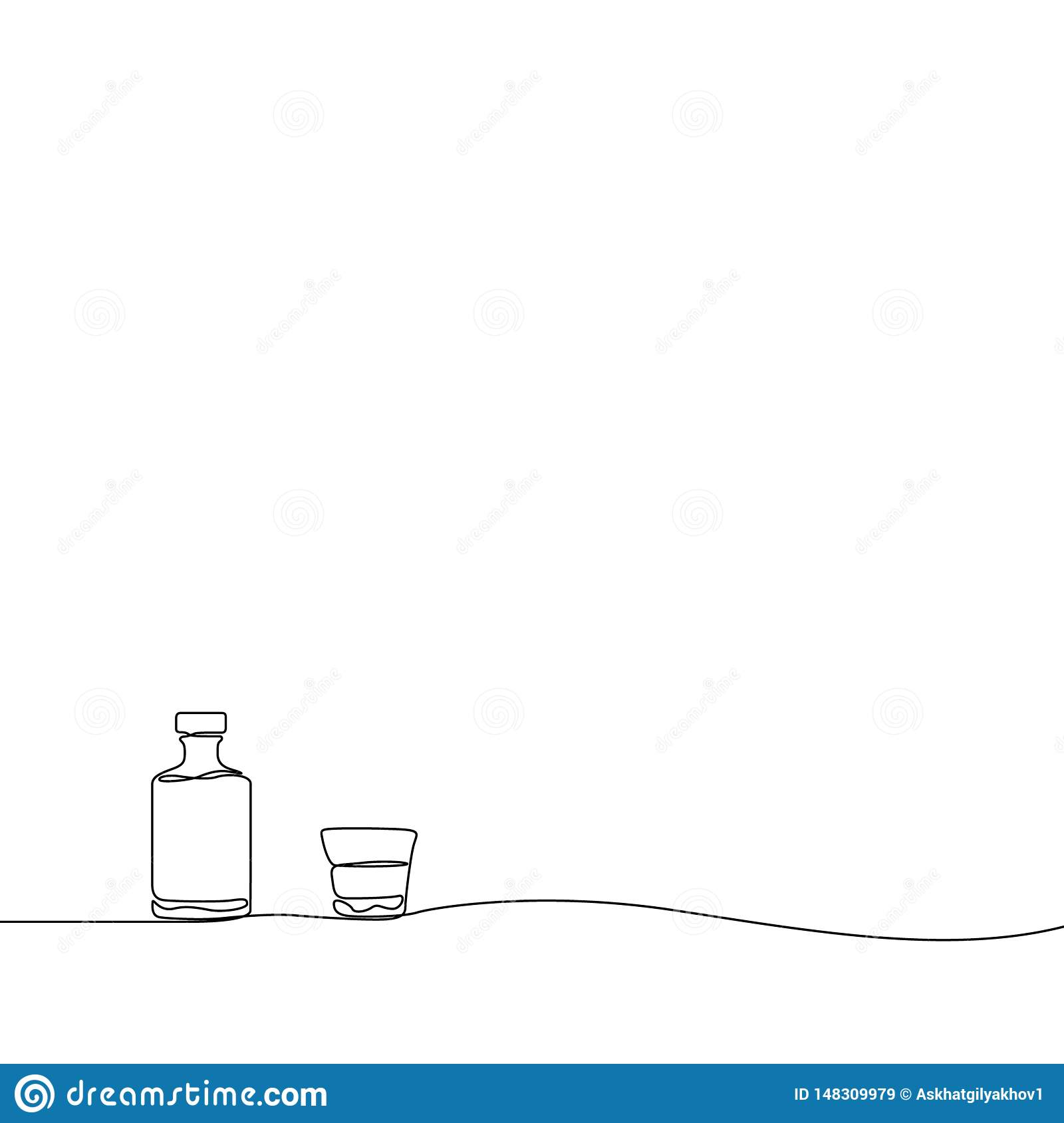 实线画的威士忌酒和玻璃 r
