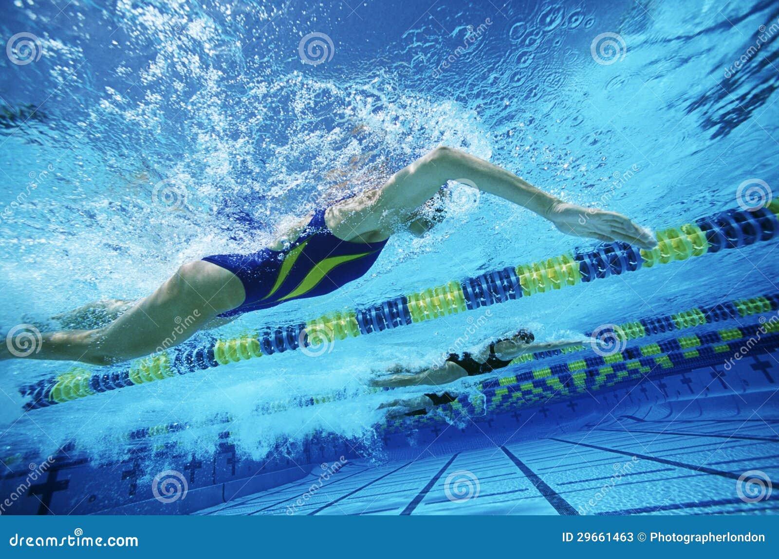 实践在水池的游泳队