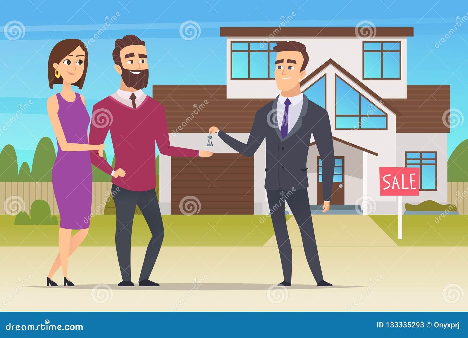 实际概念的庄园 买新房或大公寓销售经理的家庭夫妇移交钥匙传染媒介