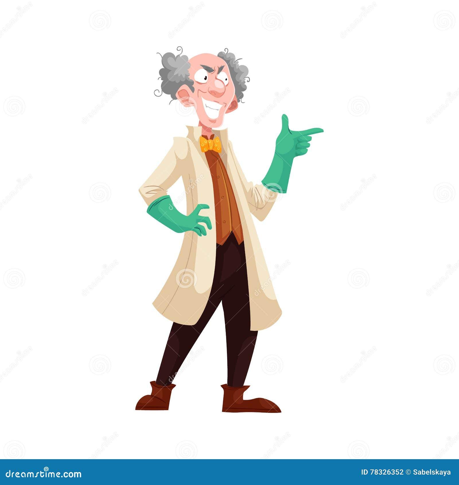 实验室外套和绿色橡胶手套的疯狂的教授