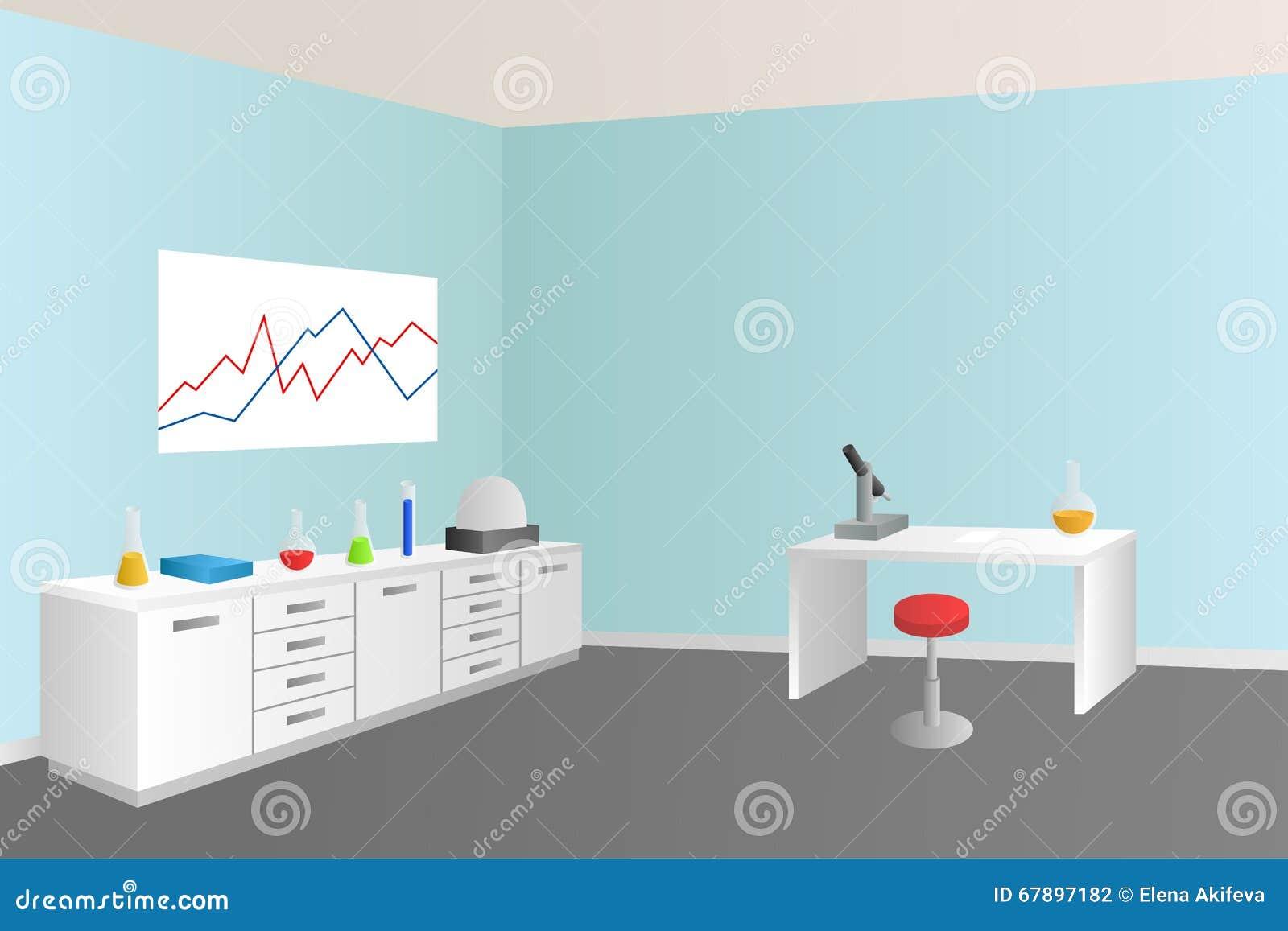 实验室蓝色室内部例证