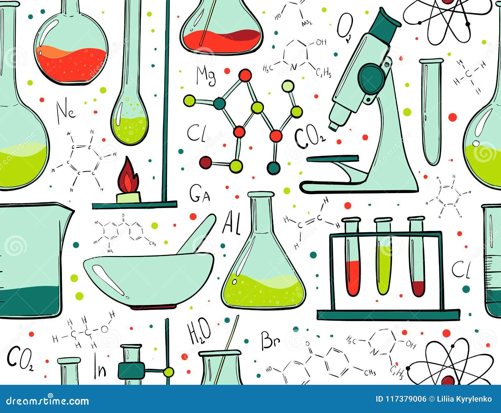 实验室设备颜色无缝的样式 科学化学 显微镜、玻璃烧瓶和试管 化学制品