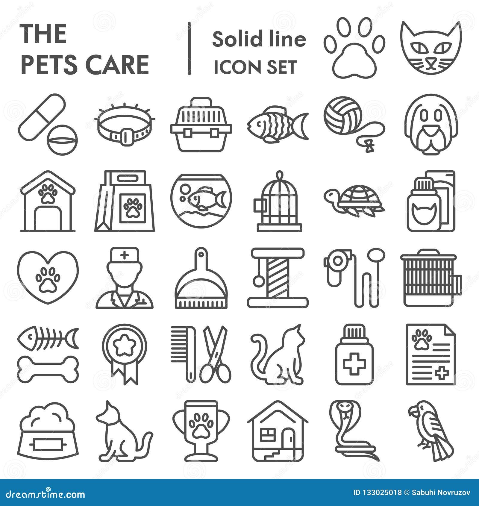 宠物照管线象集合,狩医标志汇集,传染媒介剪影,商标例证,动物标志线性图表