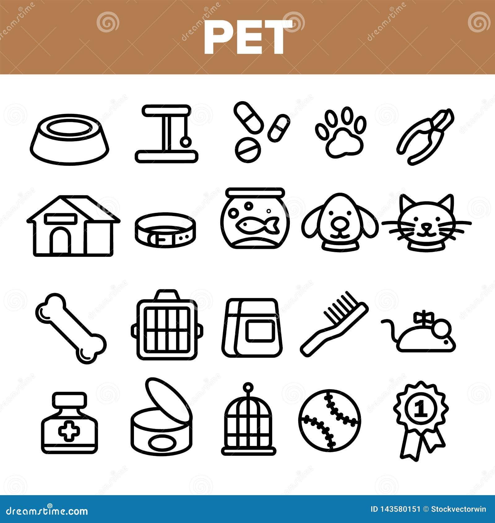 宠物线象集合传染媒介 动物护养 修饰宠物标志 狗,猫Veterinar商店象 稀薄的概述网例证