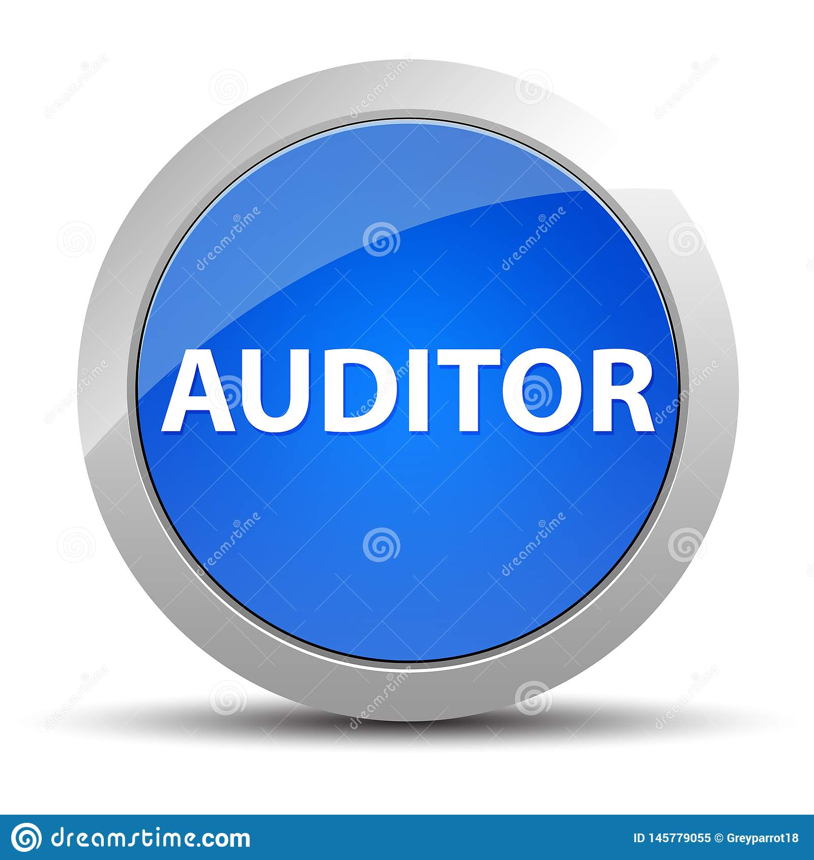审计员蓝色圆的按钮