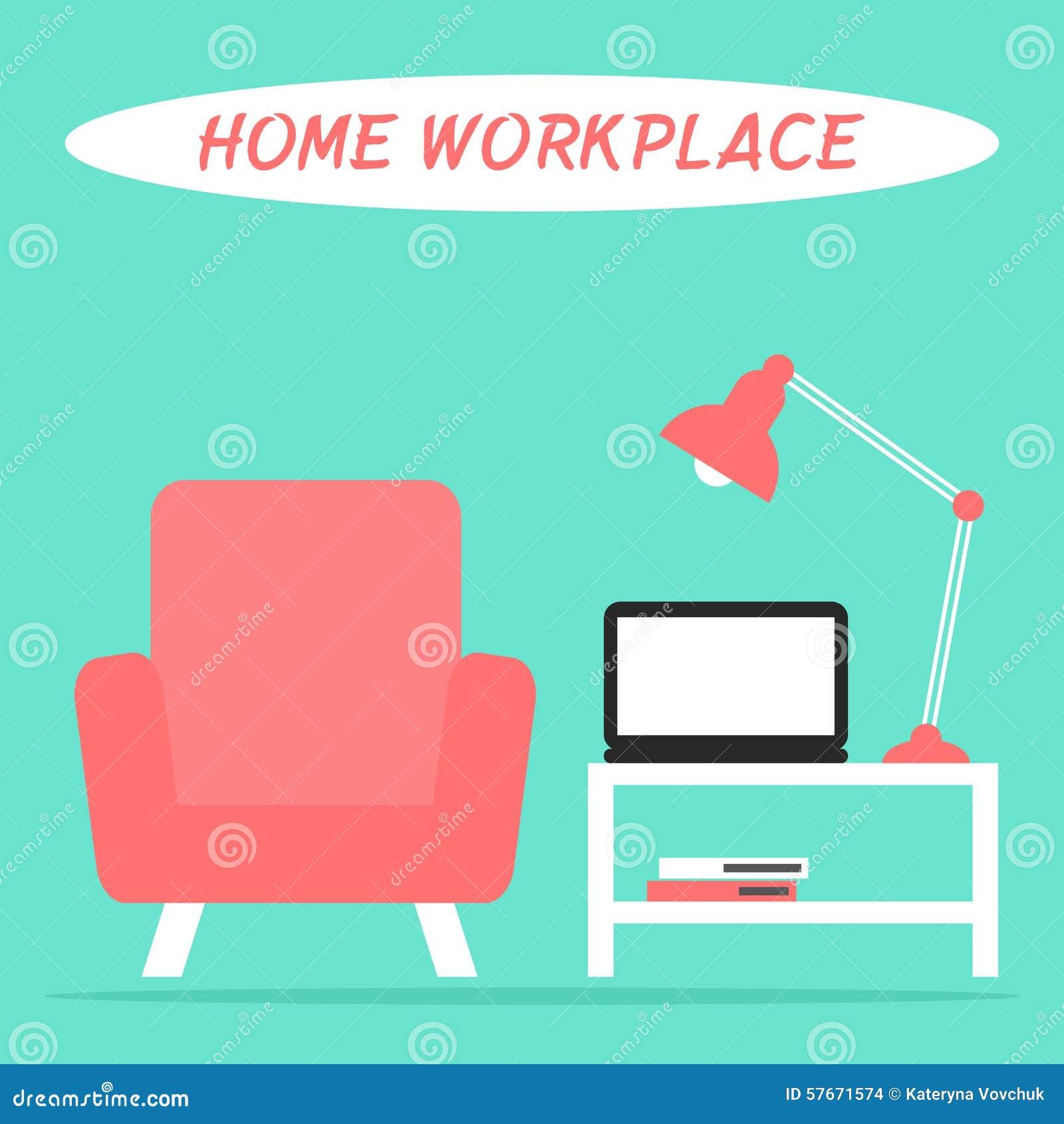 客厅内部的家庭工作场所与膝上型计算机、灯、扶手椅子和桌