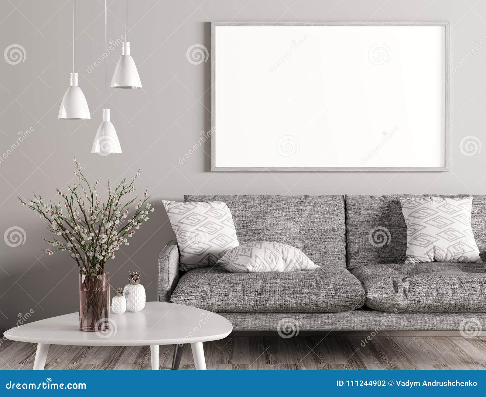 客厅和嘲笑内部有沙发的海报3d renderin的