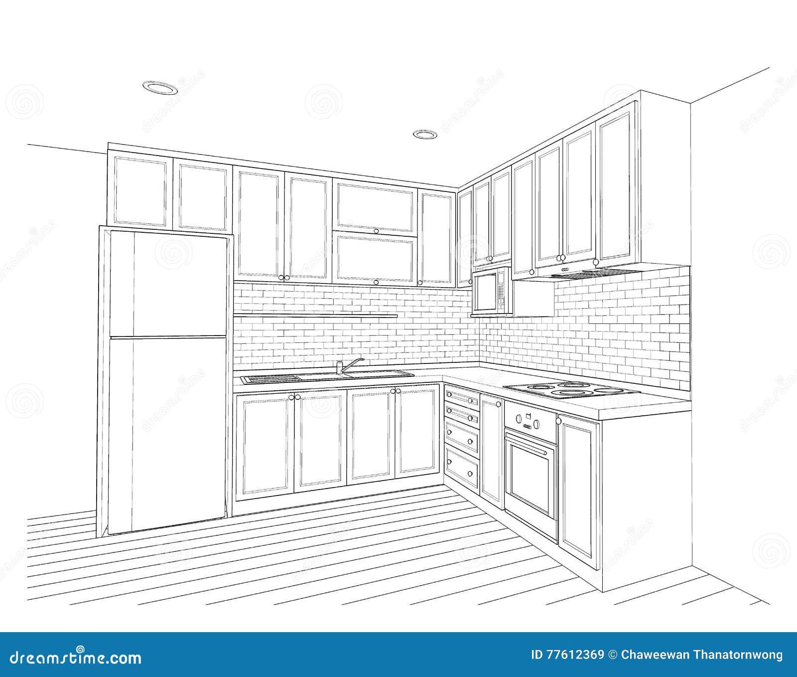Dream Kitchen Design Drawing: Ů�内设计,厨房 ź�存例证. Ə�画 Ō�括有 Ɯ�柜, ǎ�有量, Ļ�何地方, ǃ�箱, Ʀ�念, ś�家(地区), Ǽ�译