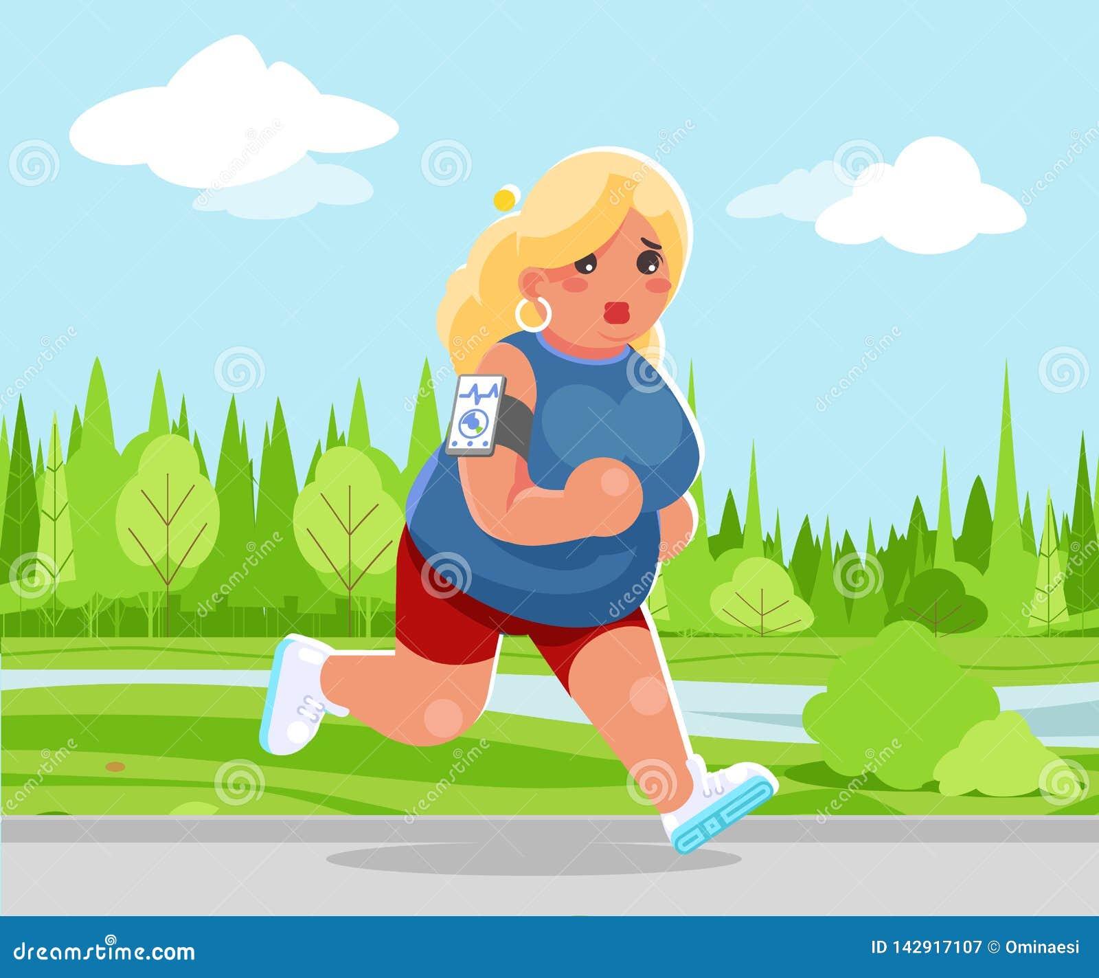 室外连续医疗保健奔跑公园心脏应用程序智能手机动画片逗人喜爱的妇女健身字符设计传染媒介
