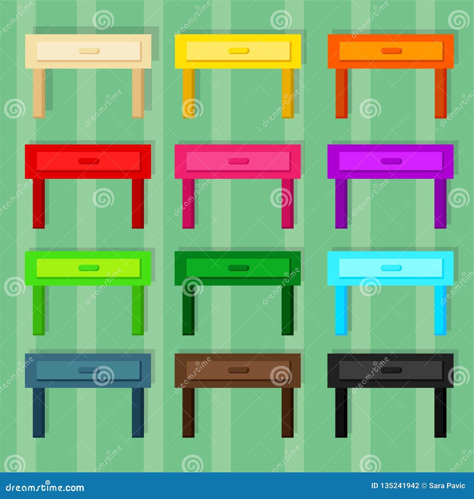 室的木小的桌12不同颜色的
