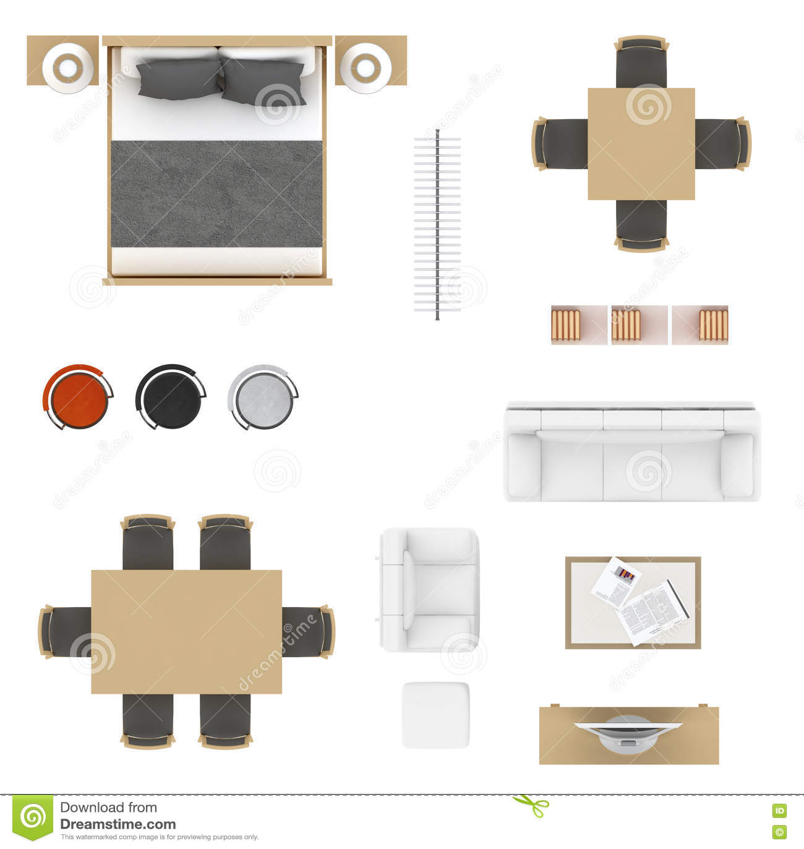 Kitchen Set Top View: 家具顶视图 库存例证. 插画 包括有 书架, 衣物, 顶上, 被登记的, 钉书匠, 壁橱, Bedaub