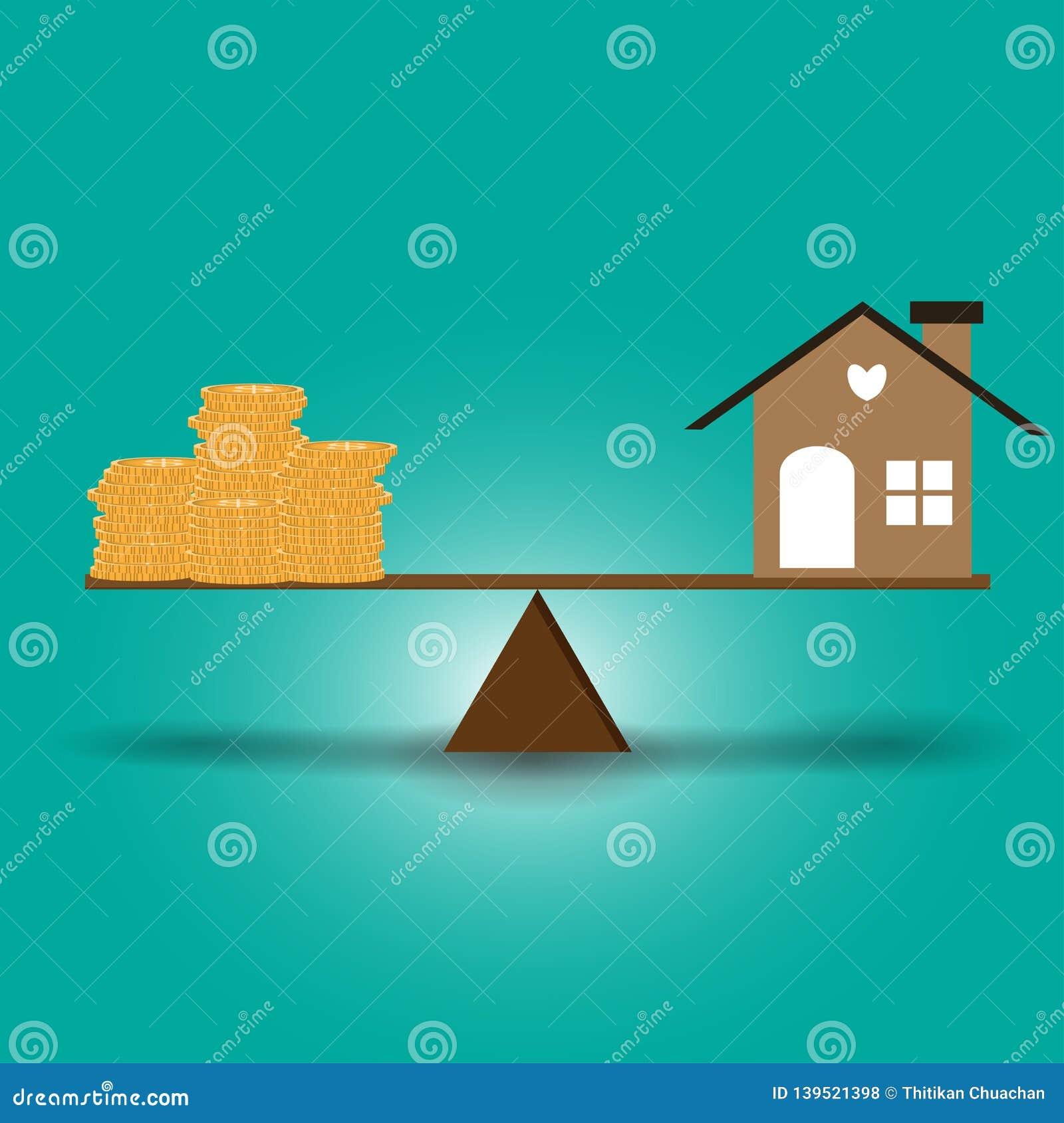 家和硬币在与在木头上把放的平衡的等级投入了
