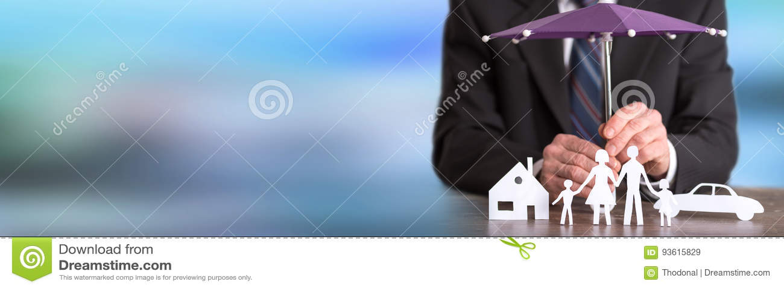 家庭、房子和汽车保护覆盖面概念