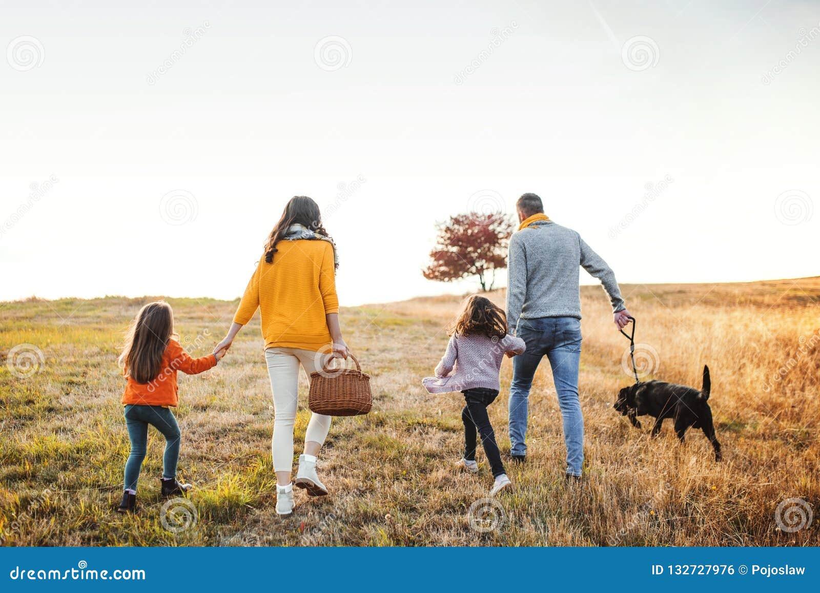 家庭一个背面图与两个小孩子和一条狗的在秋天自然的步行