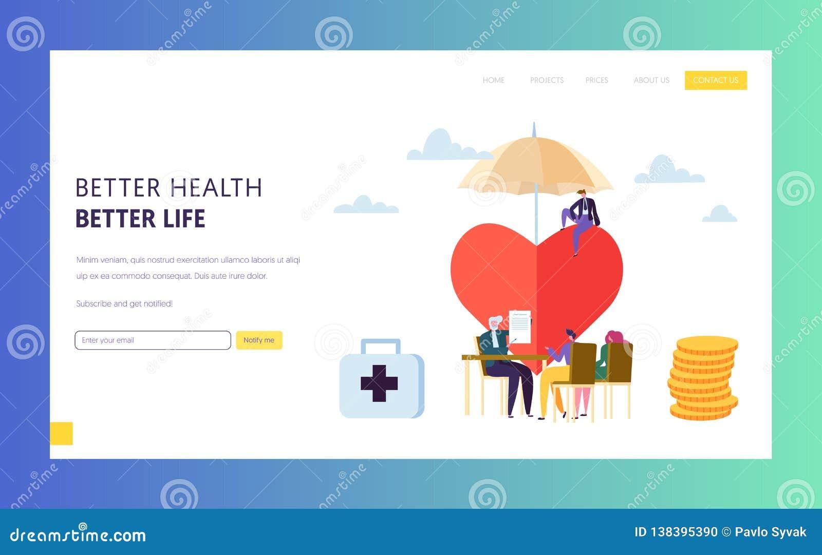 家庭保险政策标志着陆页概念 人字符填充安全合同伞 医疗保健