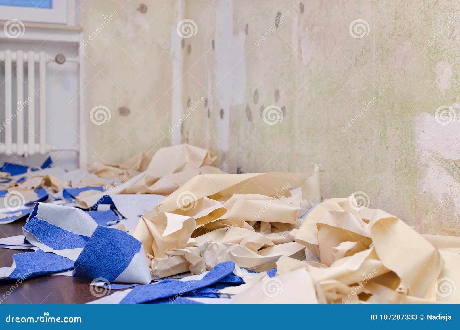 家庭修理概念,在地板上的被去除的墙纸,改造公寓,选择聚焦