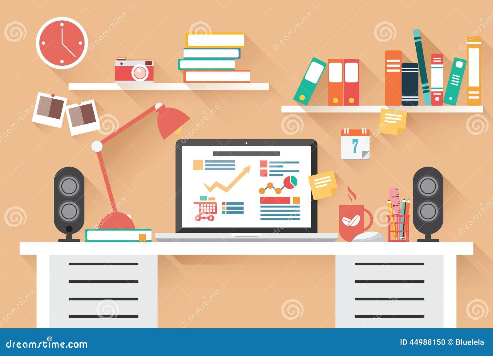 家庭办公室书桌-平的设计,长的阴影,工作书桌