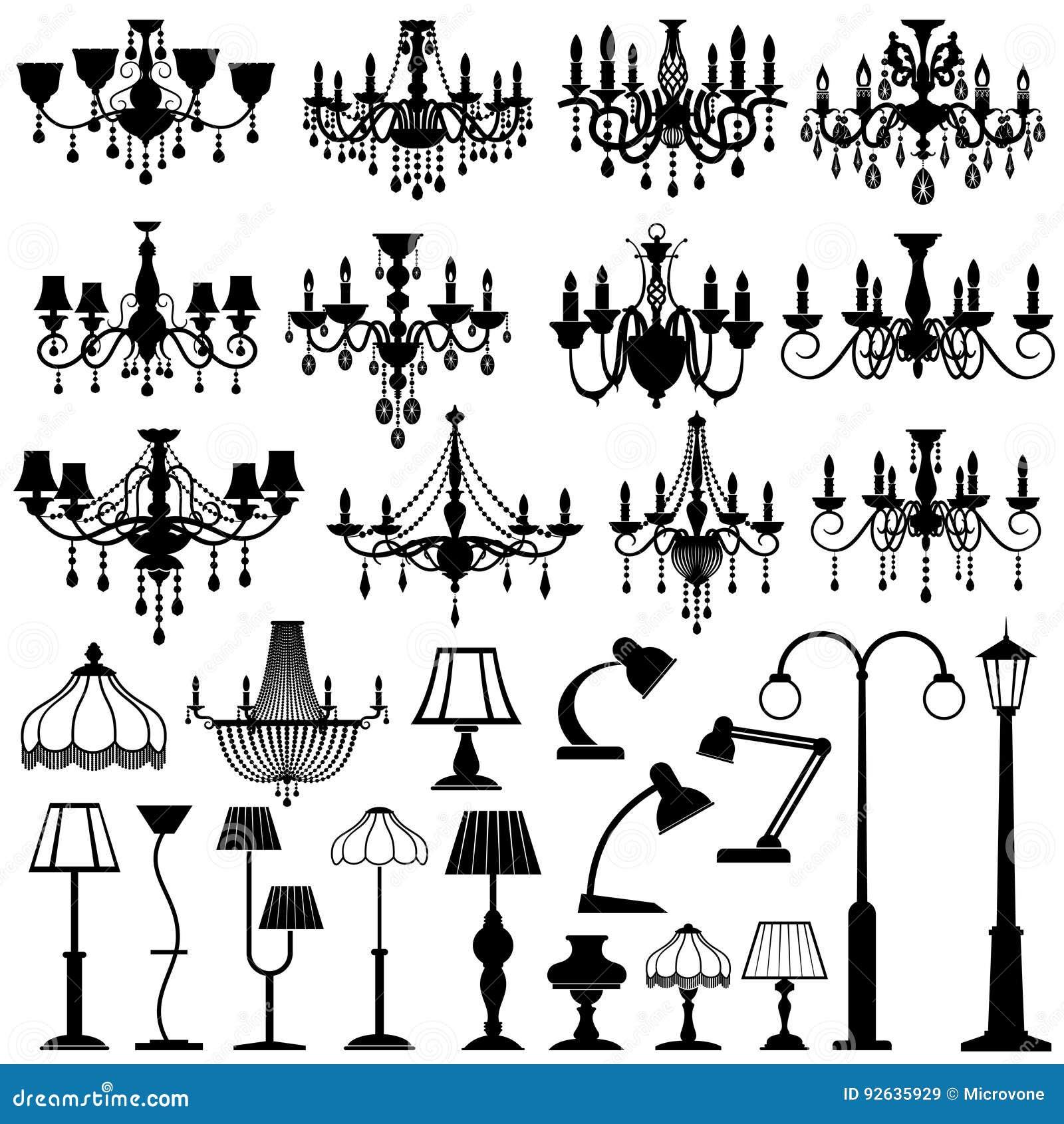 家庭和室外闪电、灯和枝形吊灯传染媒介集合