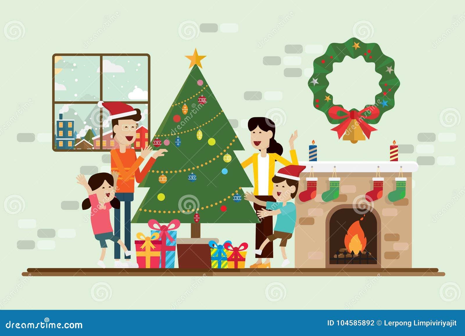 家庭在圣诞节和装饰在壁炉屋子里