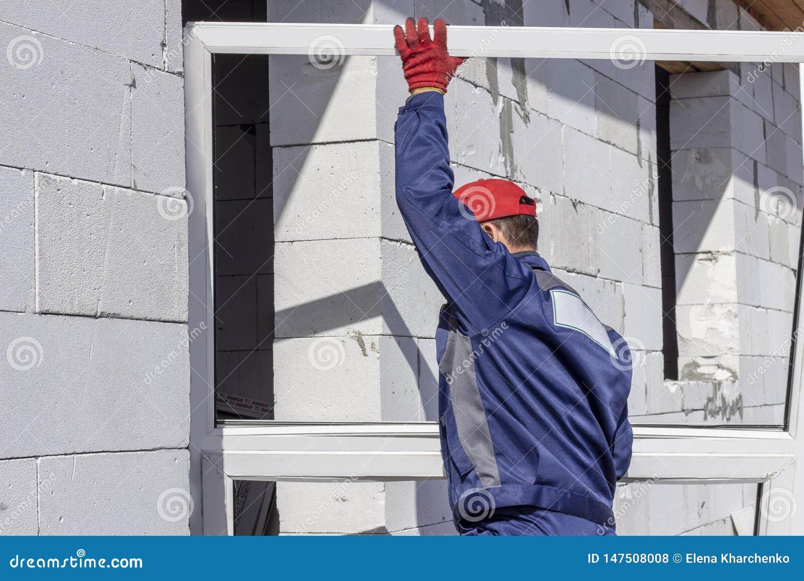 家庭建筑装载者工作者运载设施的一个platic窗口