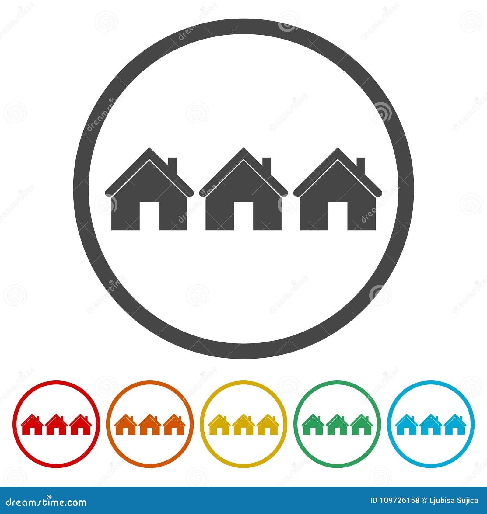 家庭标志象 主页按钮,议院象,包括的6种颜色