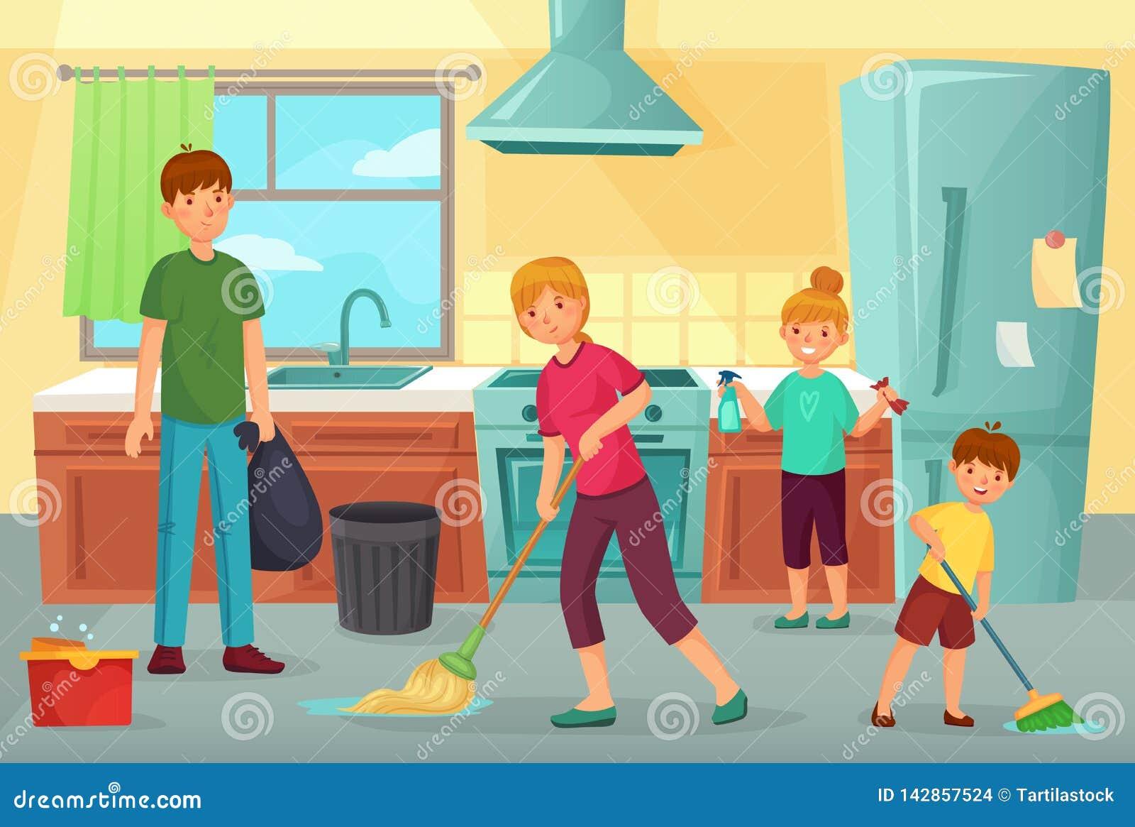 家庭清洗的厨房 父亲、母亲和拂去和抹地板动画片的灰尘一起孩子干净的烹调家庭