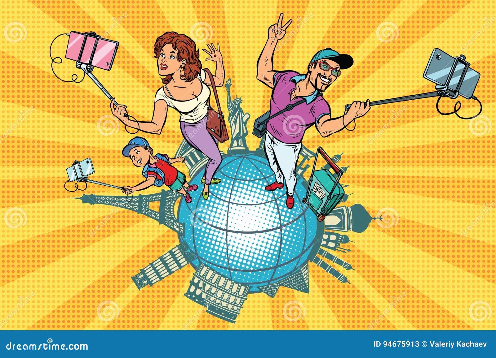 家庭游人和selfie,旅行环球