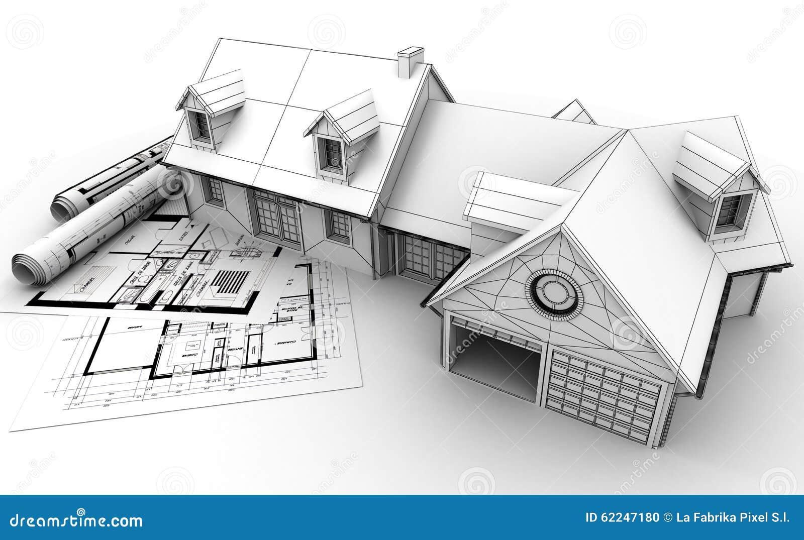 库存例证: 家庭建筑学项目完成图片