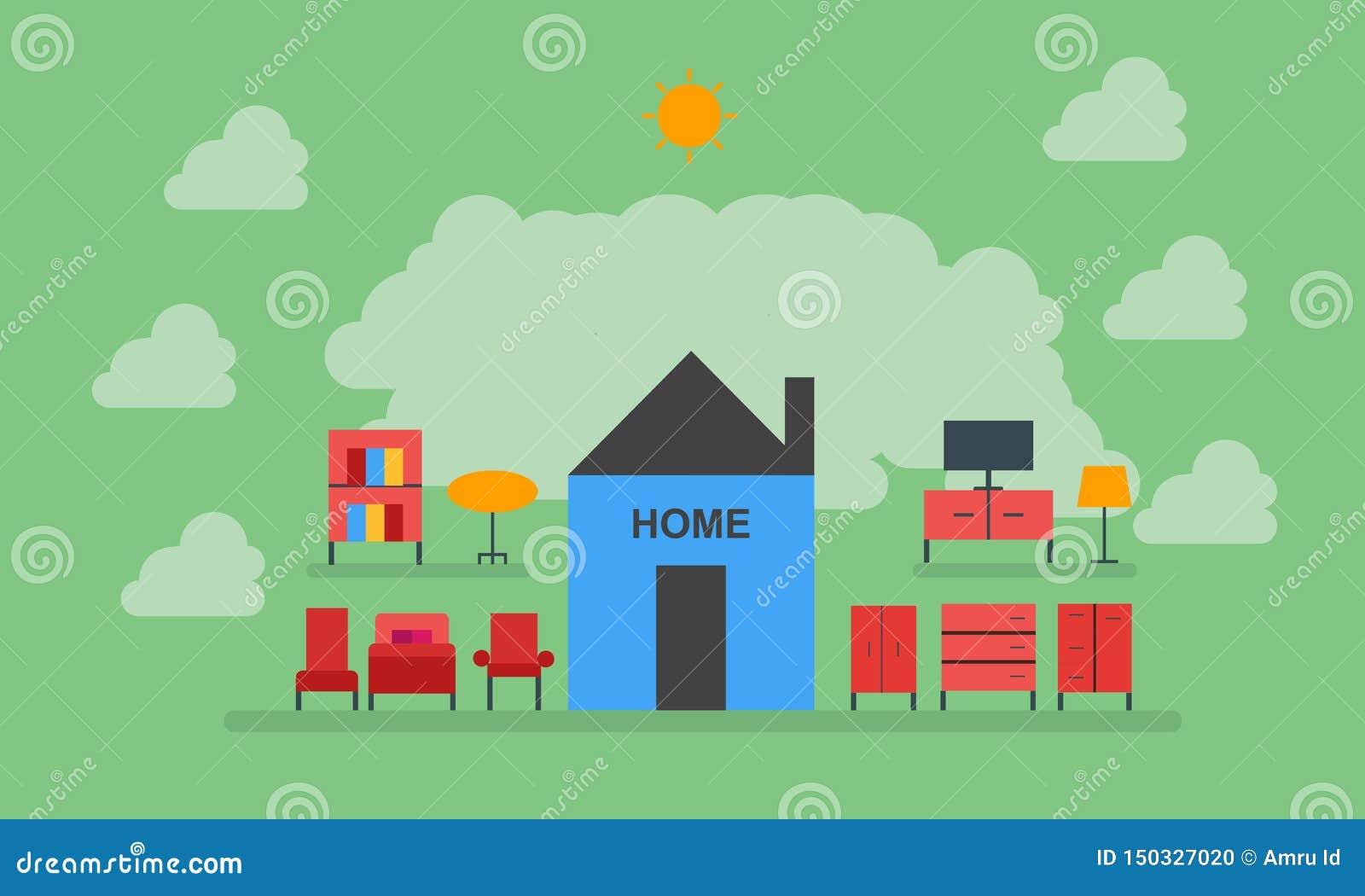 家,家具,椅子,桌,衣橱,光,电视,床,家庭甜家
