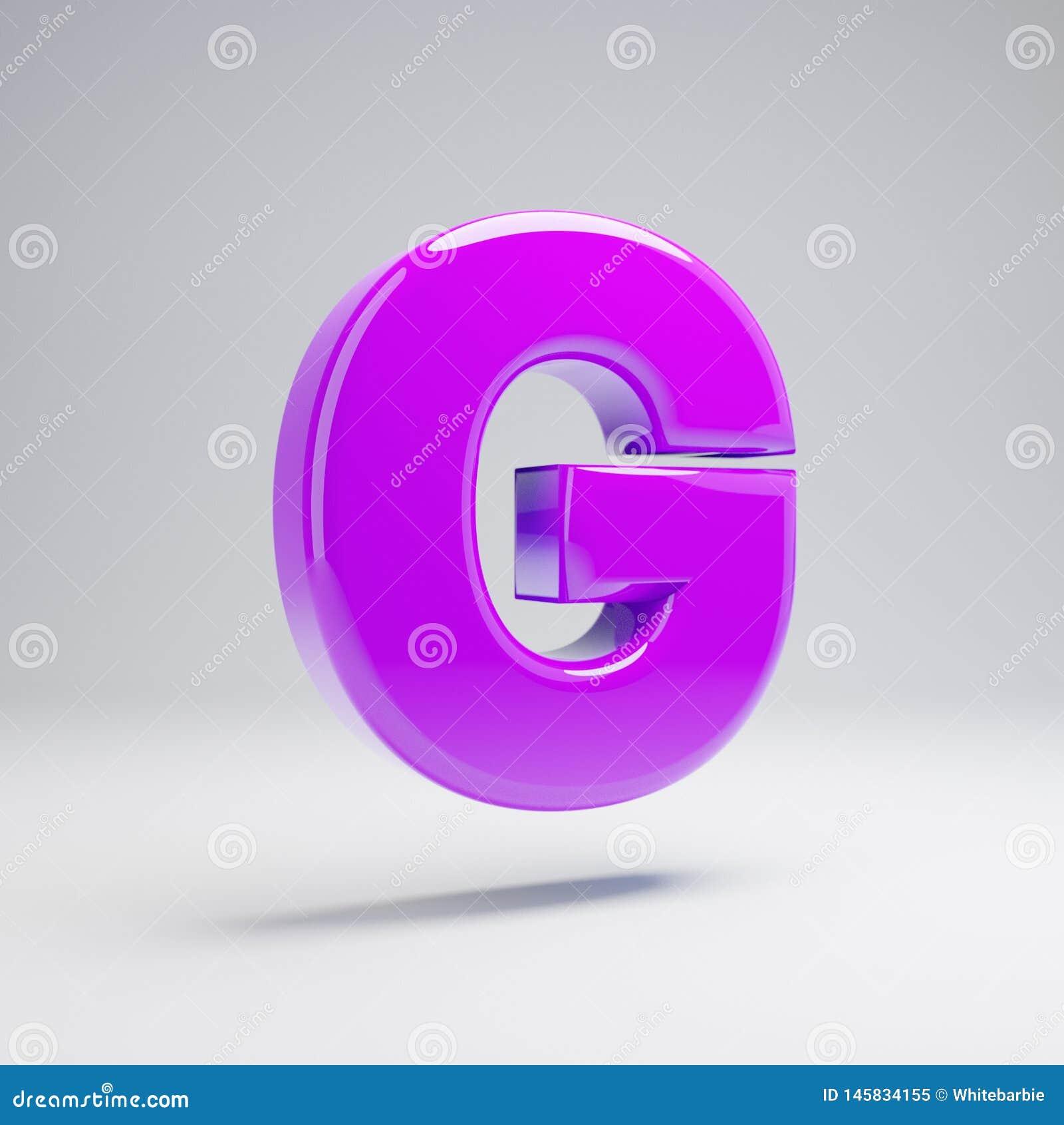 容量光滑的在白色背景G隔绝的紫罗兰大写字目