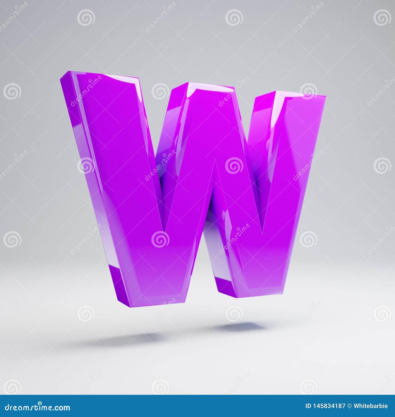 容量光滑的在白色背景W隔绝的紫罗兰大写字目