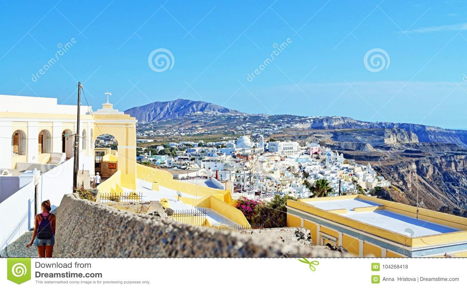 宽容大教堂圣托里尼海岛全景希腊