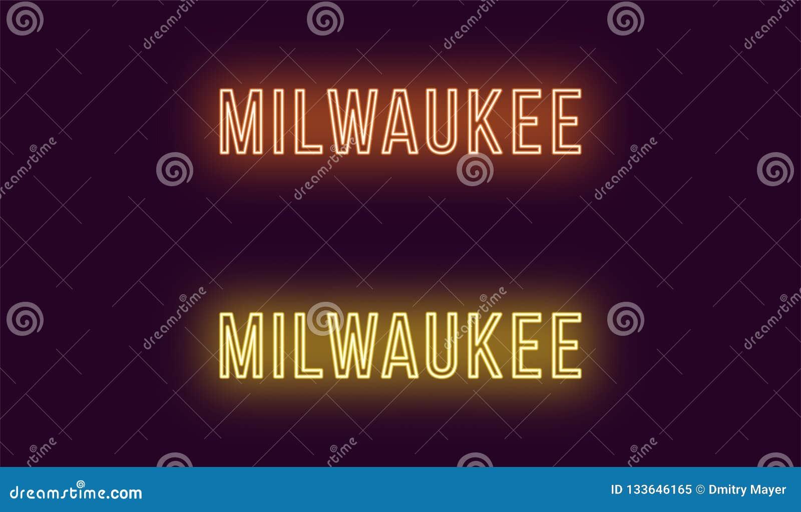 密尔沃基市的霓虹名字在美国 传染媒介文本