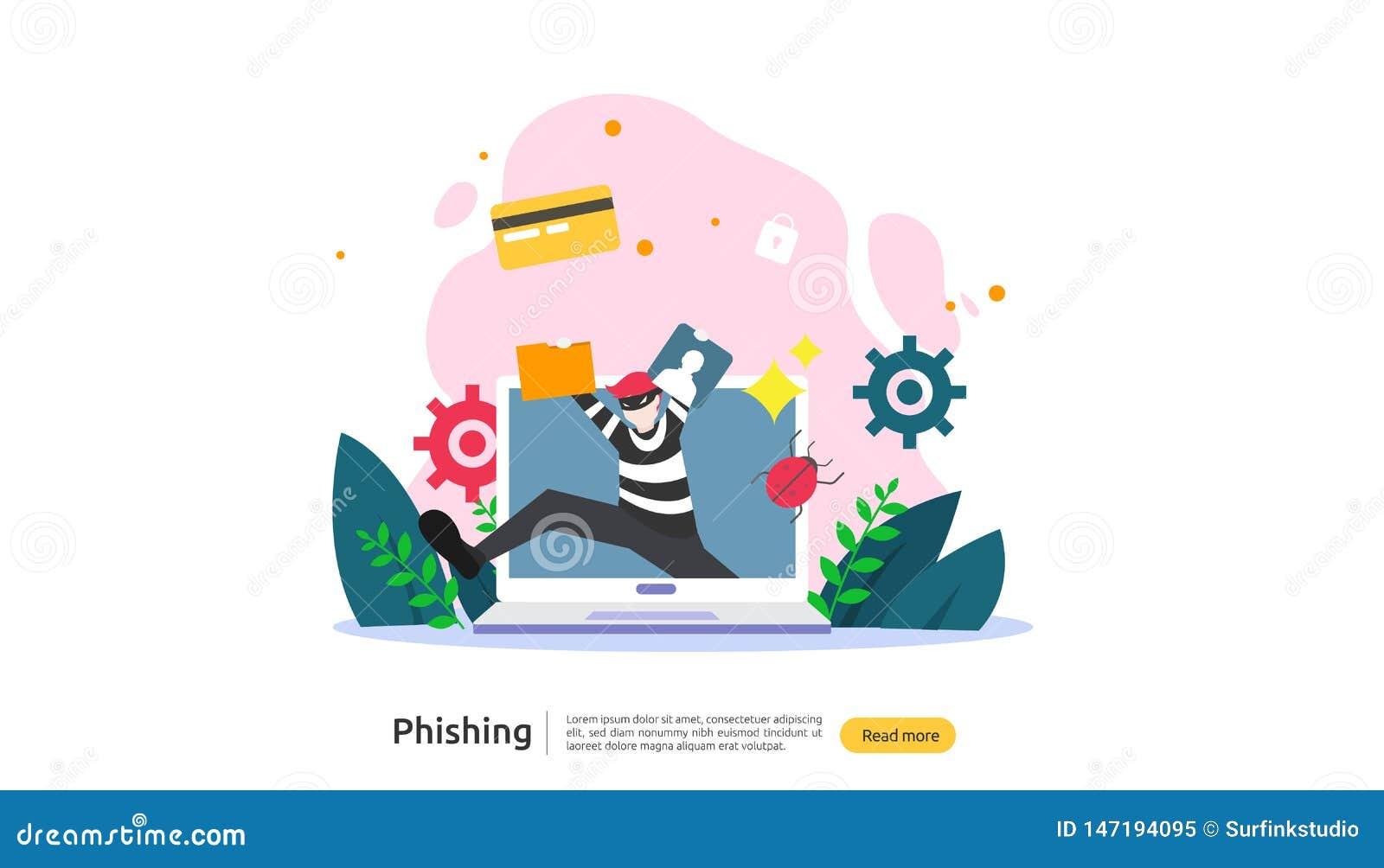 密码phishing的攻击概念着陆页模板 窃取与微小的人字符的heacker个人互联网安全