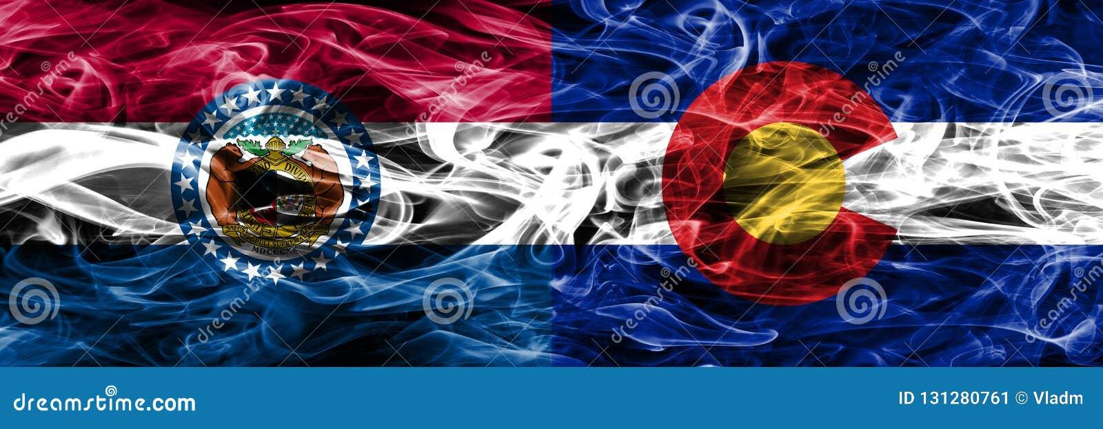 密苏里对肩并肩被安置的科罗拉多五颜六色的概念烟旗子