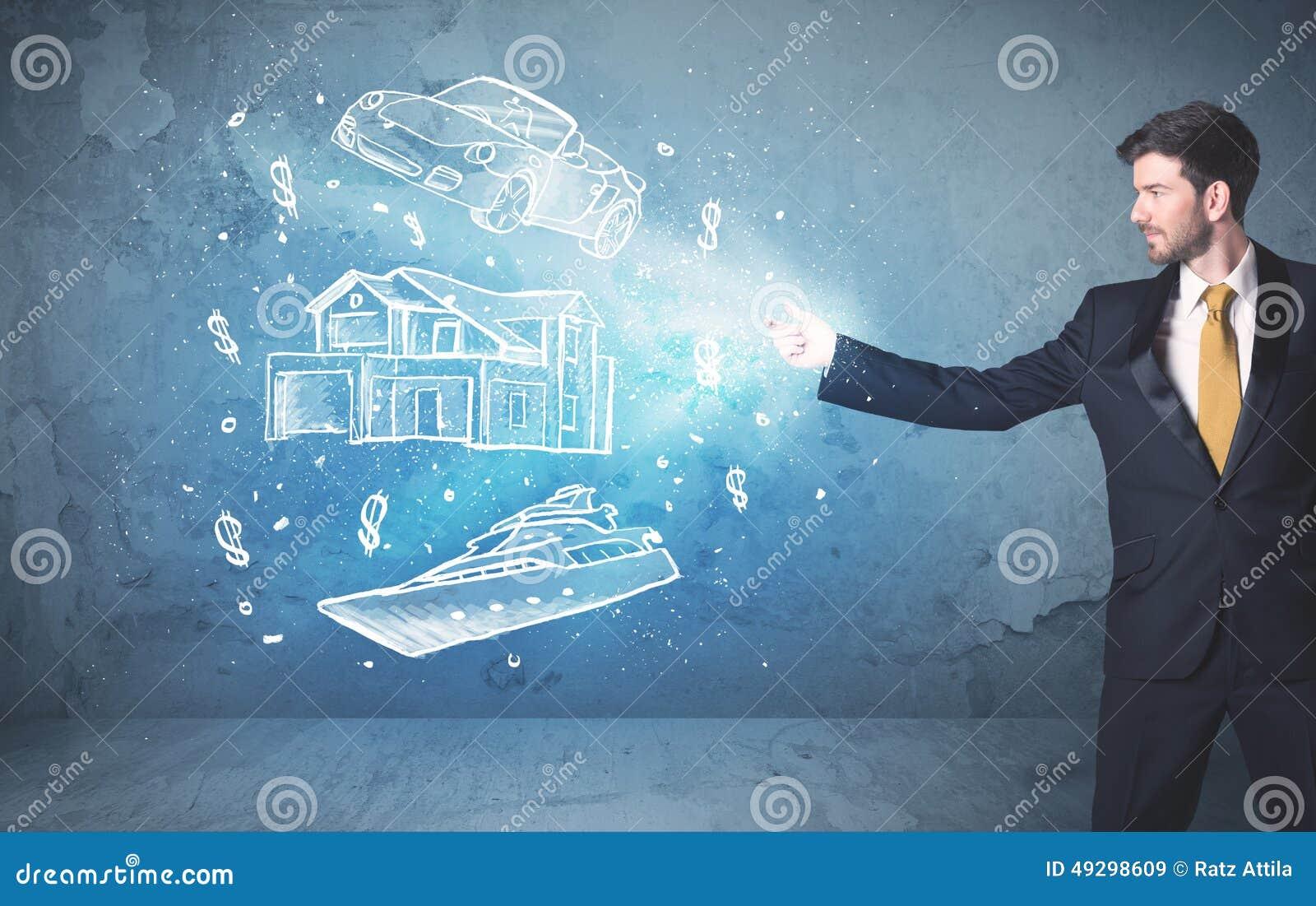 富人投掷的手拉的汽车游艇和房子