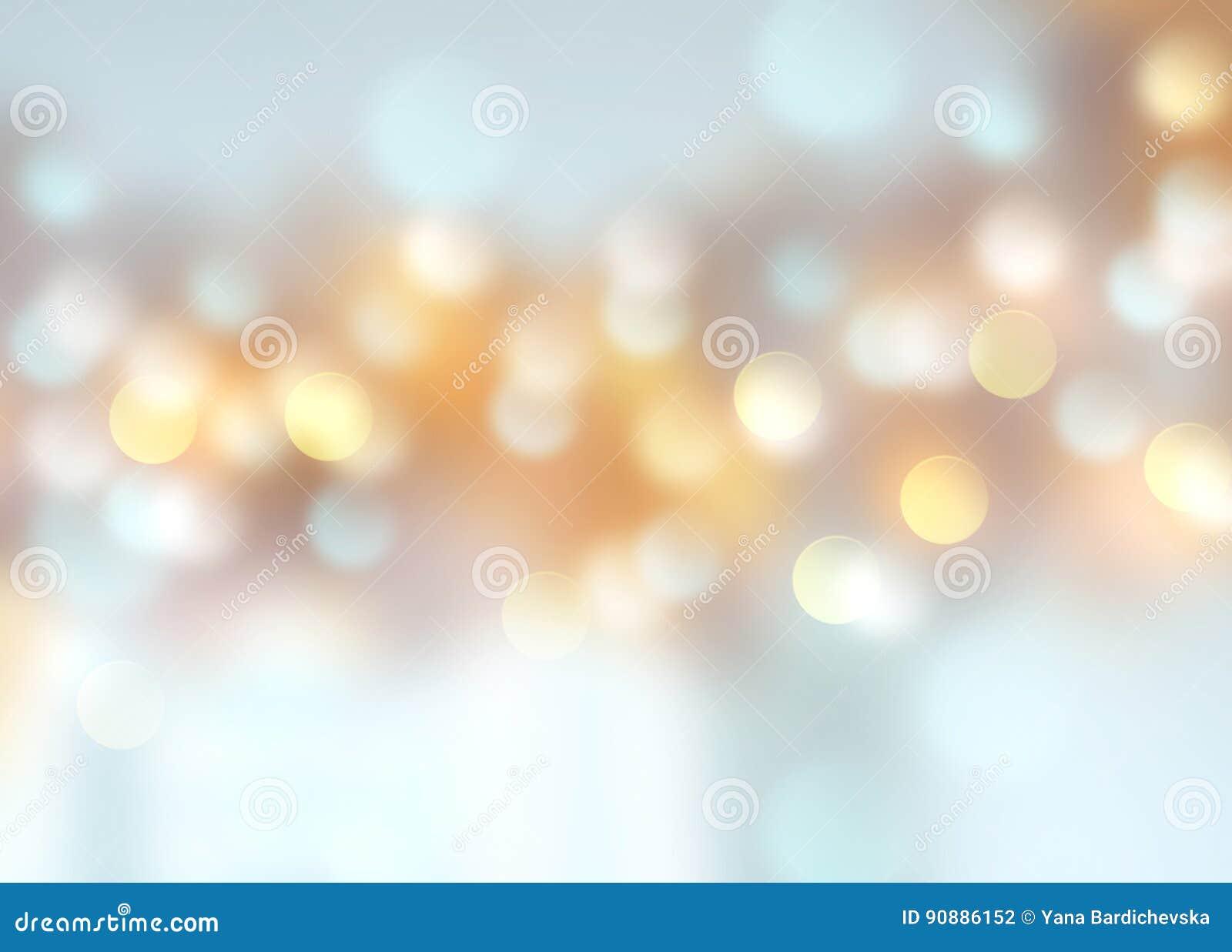 寒假圣诞节蓝色金黄被弄脏的bokeh背景