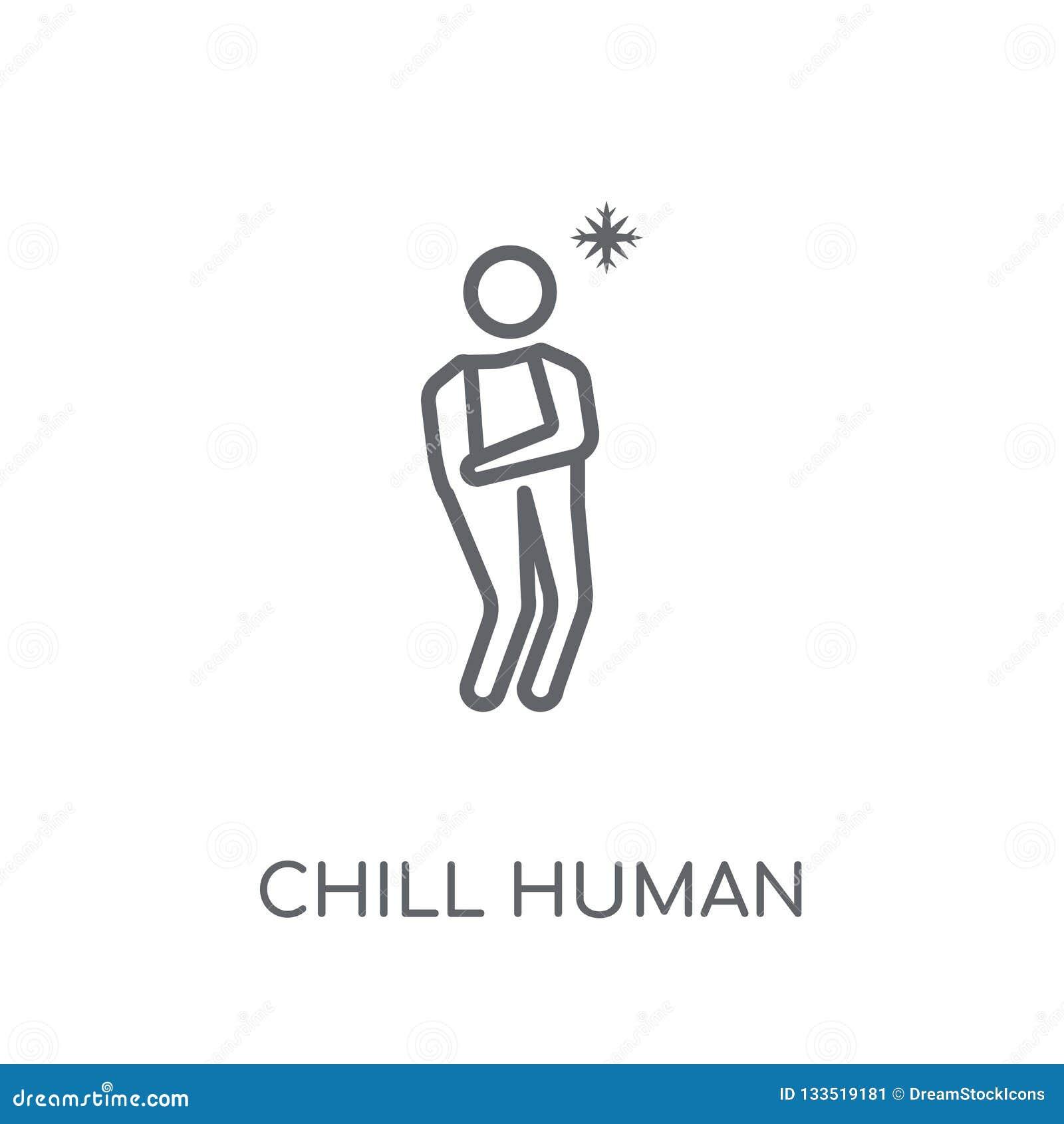 寒冷的人的线性象 现代概述冷颤人的商标概念