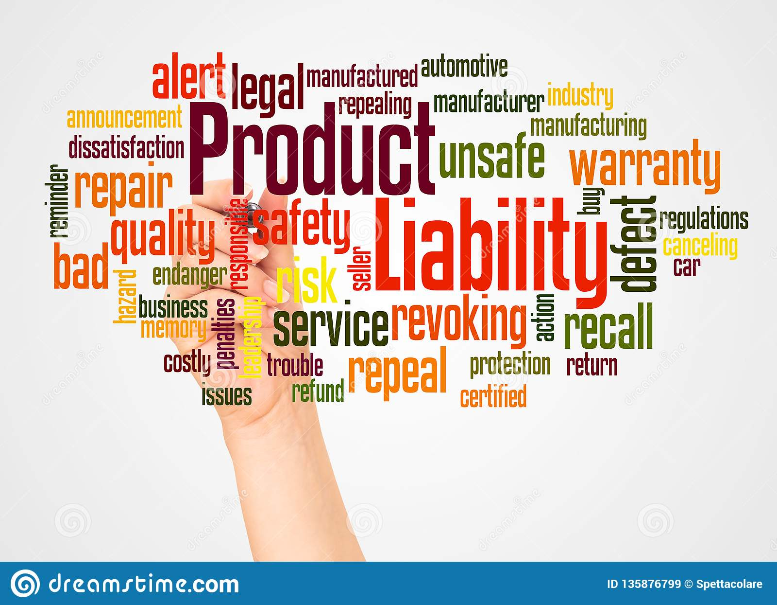对产品质量的责任词云彩和手有标志概念的