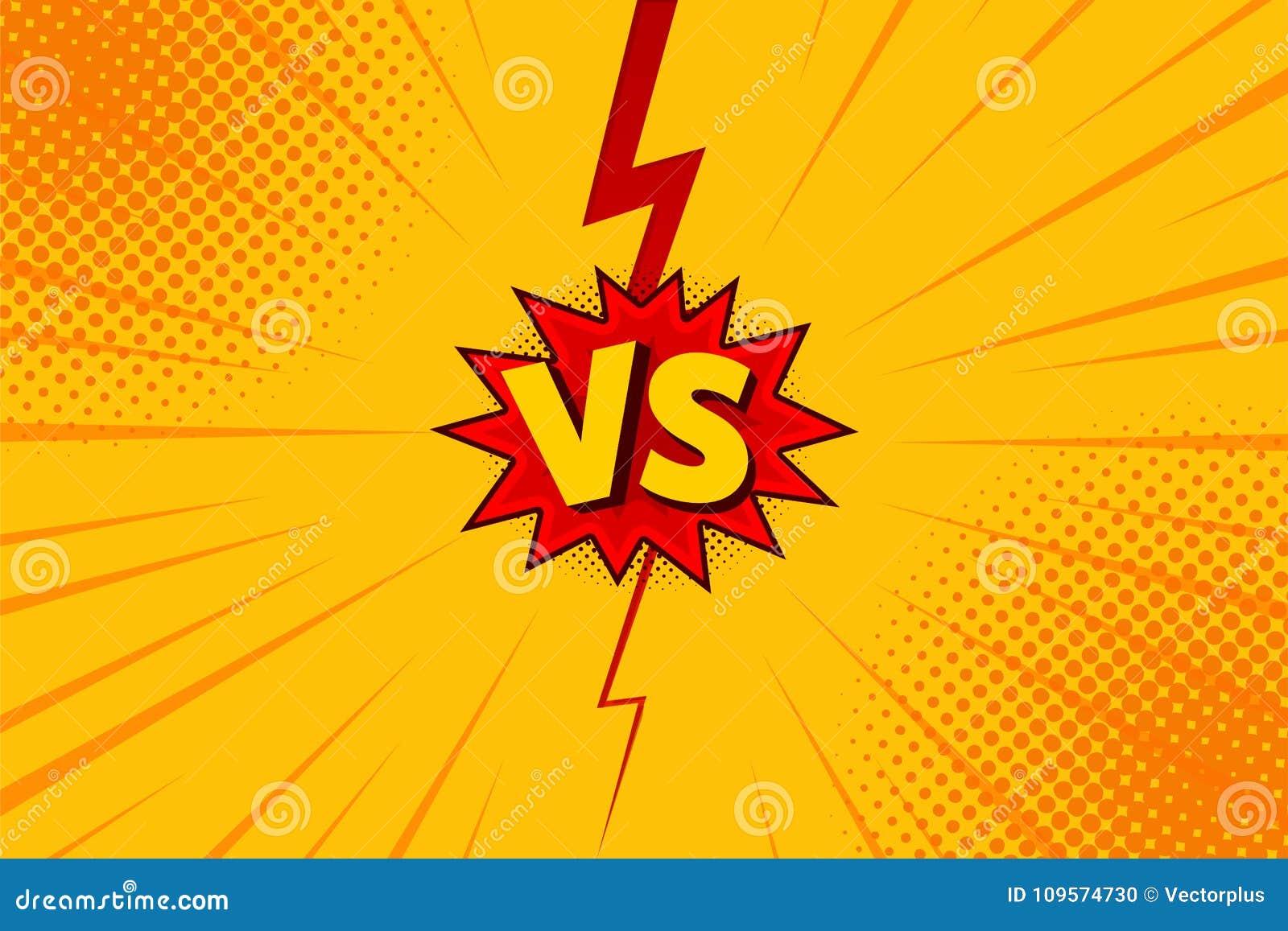 对对信件在平的漫画样式设计的战斗背景与中间影调,闪电 向量