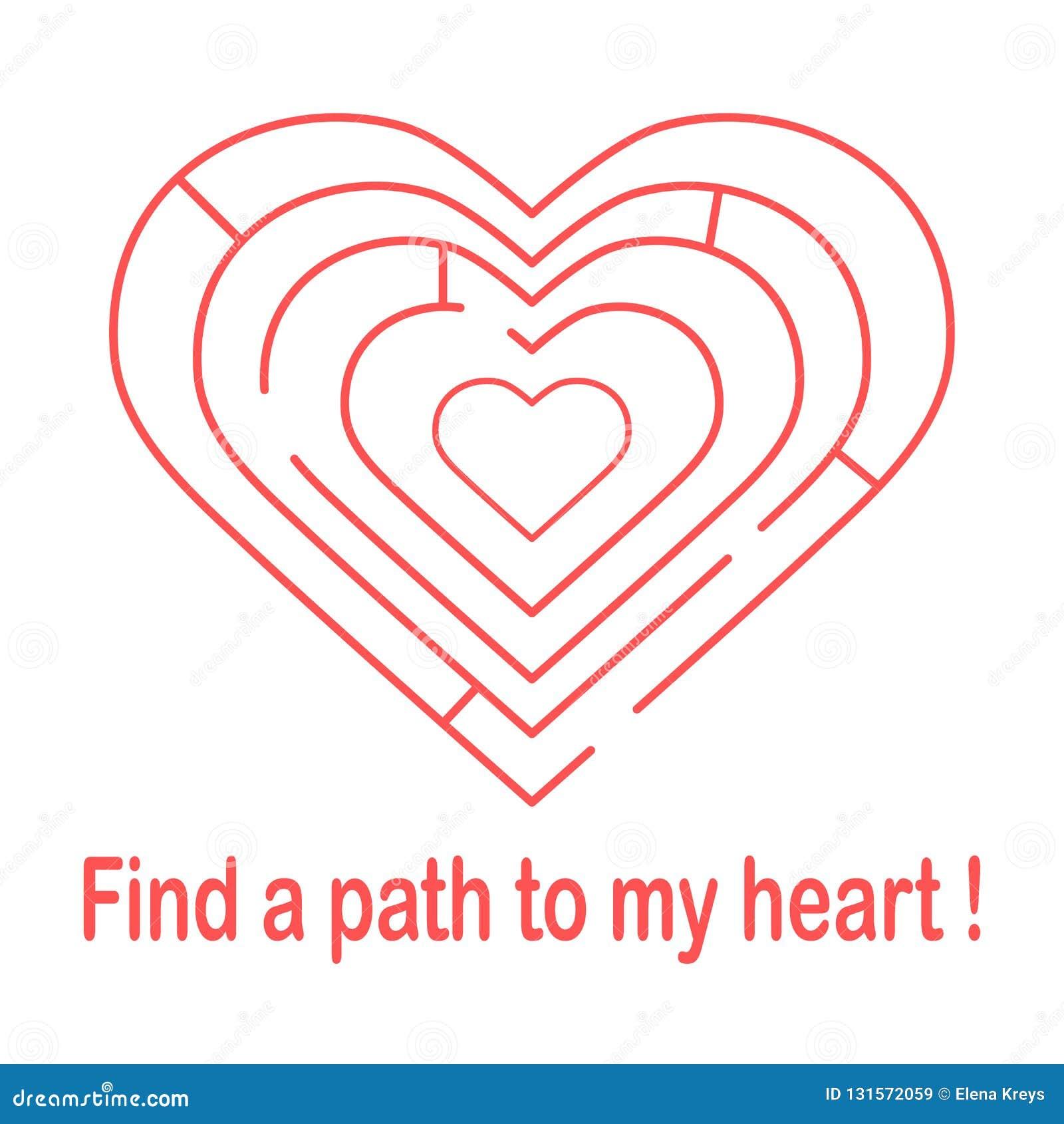 对心脏的迷宫和题字发现一条道路对我的心脏 横幅、海报或者印刷品的设计 贺卡华伦泰 's
